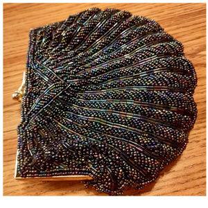 Vtg 80's Beaded Clutch Handbag